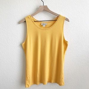 Coldwater Creek Yellow Ribbed Tank Top
